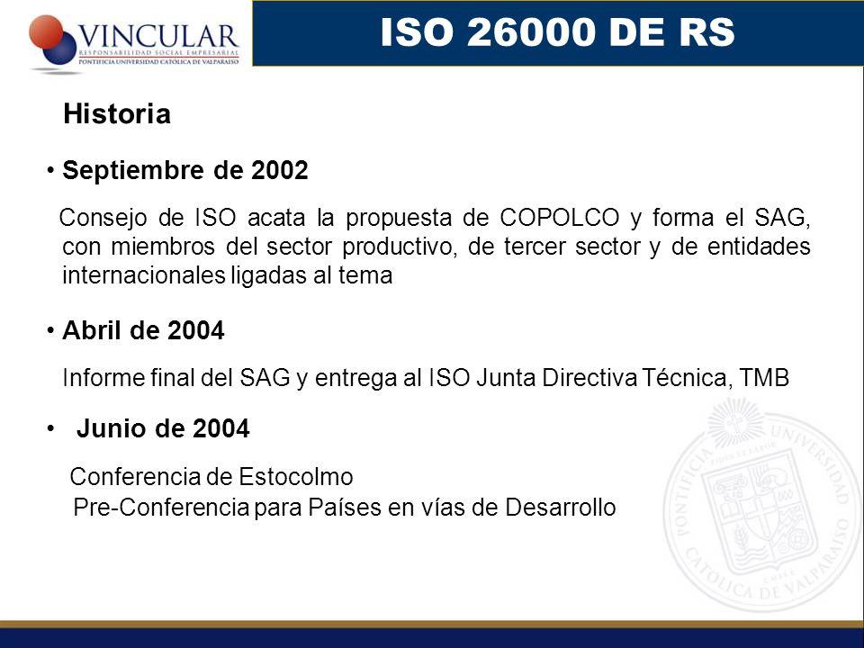 Septiembre de 2002 Consejo de ISO acata la propuesta de COPOLCO y forma el SAG, con miembros del sector productivo, de tercer sector y de entidades in