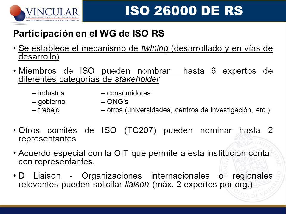 ISO 26000 DE RS Participación en el WG de ISO RS Se establece el mecanismo de twining (desarrollado y en vías de desarrollo) Miembros de ISO pueden no