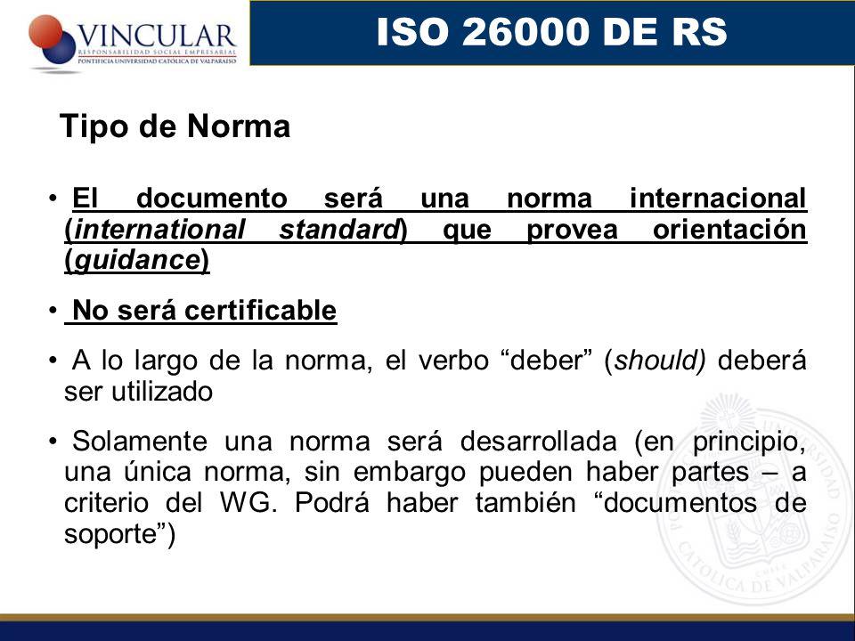 El documento será una norma internacional (international standard) que provea orientación (guidance) No será certificable A lo largo de la norma, el v