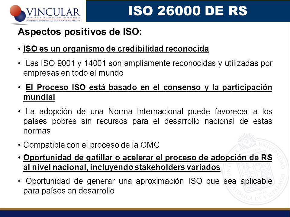 ISO 26000 DE RS Aspectos positivos de ISO: ISO es un organismo de credibilidad reconocida Las ISO 9001 y 14001 son ampliamente reconocidas y utilizada