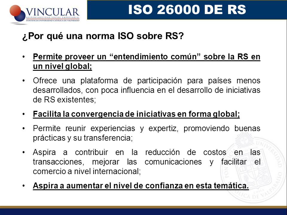 ISO 26000 DE RS ¿Por qué una norma ISO sobre RS? Permite proveer un entendimiento común sobre la RS en un nivel global; Ofrece una plataforma de parti