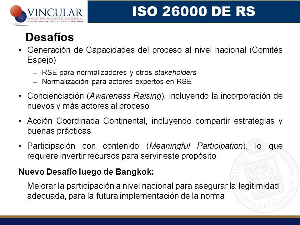 Generación de Capacidades del proceso al nivel nacional (Comités Espejo) –RSE para normalizadores y otros stakeholders –Normalización para actores exp