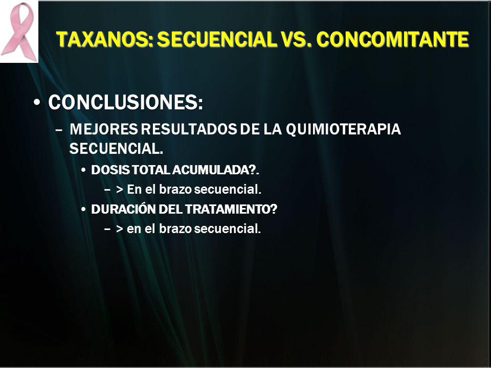 TAXANOS: SECUENCIAL VS. CONCOMITANTE CONCLUSIONES:CONCLUSIONES: –MEJORES RESULTADOS DE LA QUIMIOTERAPIA SECUENCIAL. DOSIS TOTAL ACUMULADA?. –> En el b