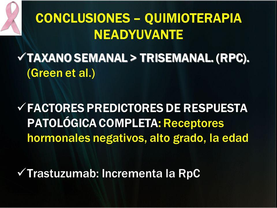 CONCLUSIONES – QUIMIOTERAPIA NEADYUVANTE TAXANO SEMANAL > TRISEMANAL. (RPC). TAXANO SEMANAL > TRISEMANAL. (RPC). (Green et al.) FACTORES PREDICTORES D