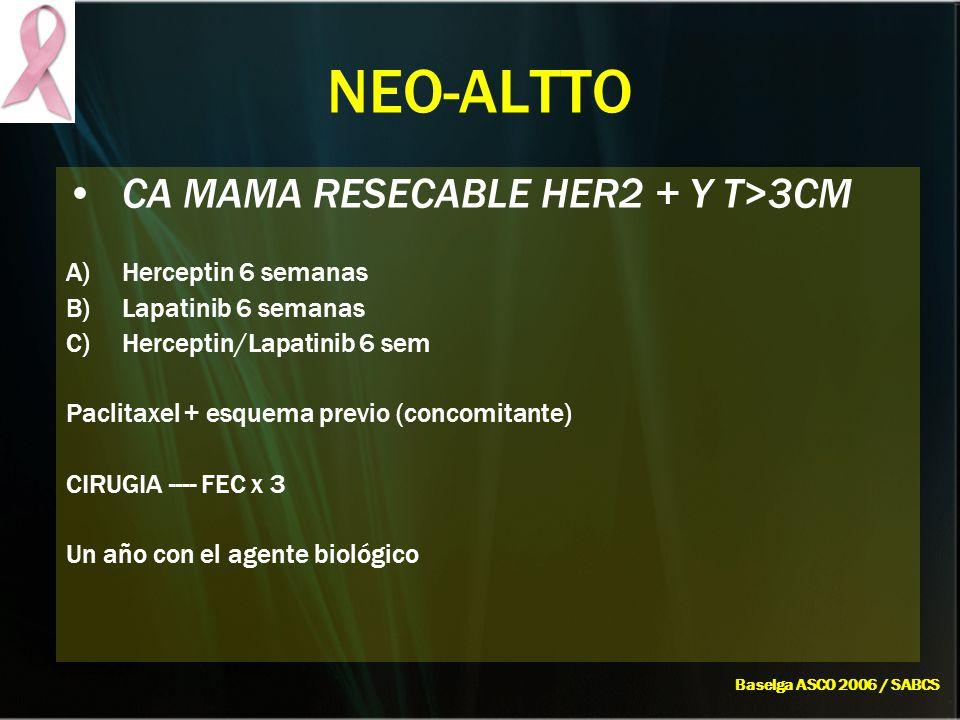 NEO-ALTTO CA MAMA RESECABLE HER2 + Y T>3CM A)Herceptin 6 semanas B)Lapatinib 6 semanas C)Herceptin/Lapatinib 6 sem Paclitaxel + esquema previo (concom