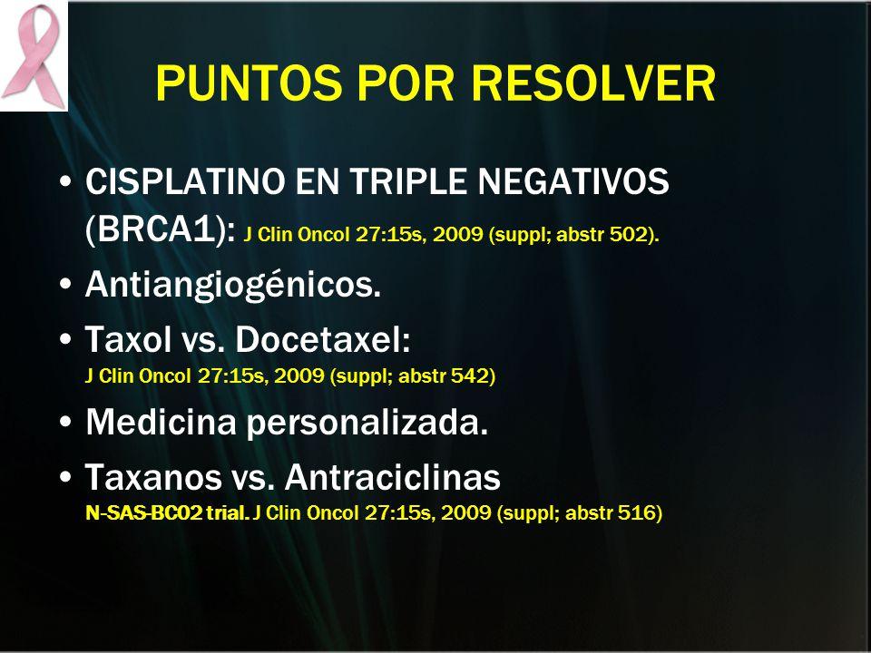 PUNTOS POR RESOLVER CISPLATINO EN TRIPLE NEGATIVOS (BRCA1): J Clin Oncol 27:15s, 2009 (suppl; abstr 502). Antiangiogénicos. Taxol vs. Docetaxel: J Cli