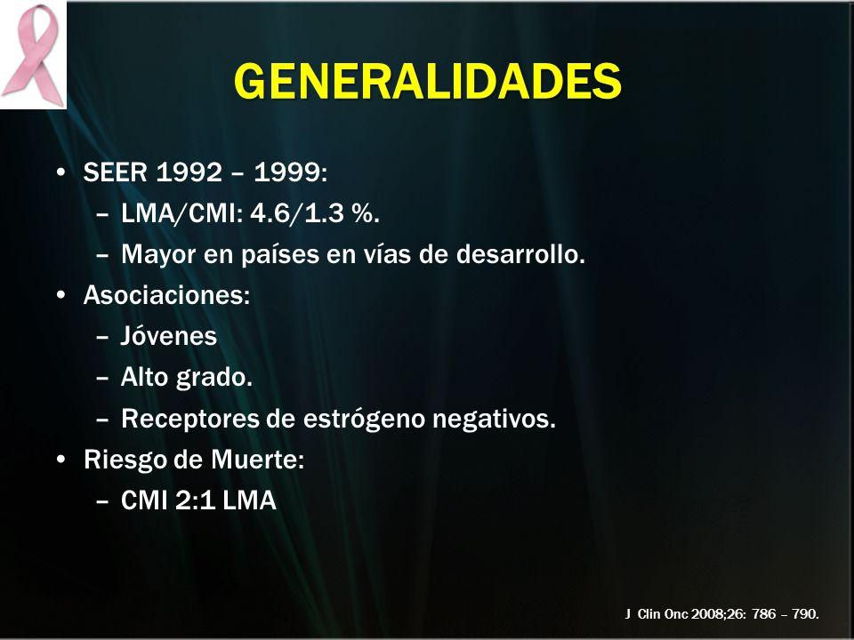 GENERALIDADES SEER 1992 – 1999: –LMA/CMI: 4.6/1.3 %. –Mayor en países en vías de desarrollo. Asociaciones: –Jóvenes –Alto grado. –Receptores de estróg