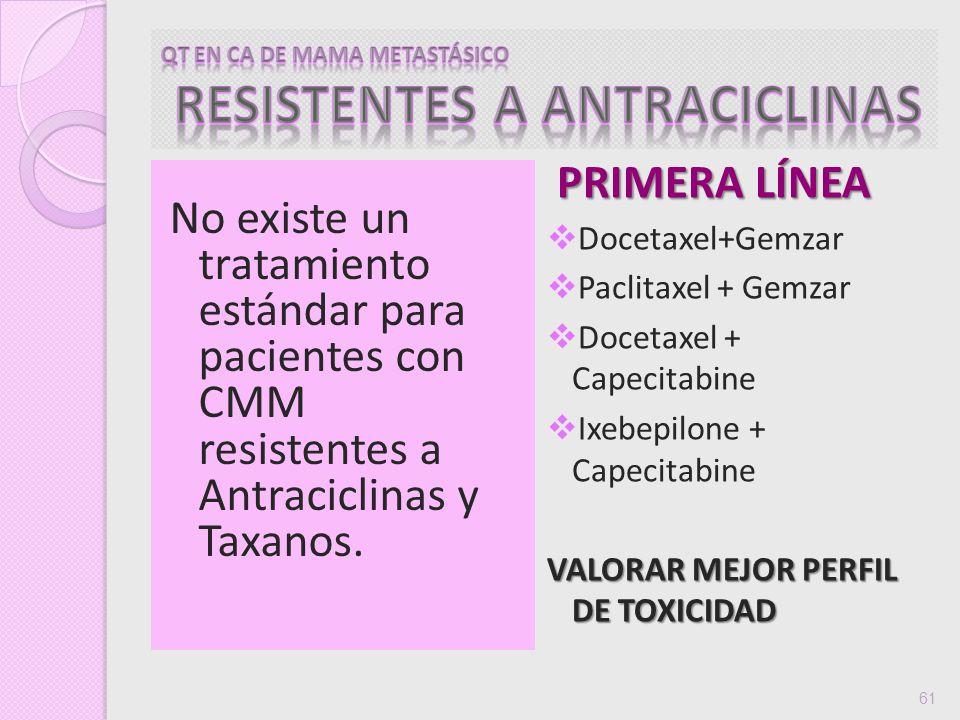 No existe un tratamiento estándar para pacientes con CMM resistentes a Antraciclinas y Taxanos. 61 PRIMERA LÍNEA Docetaxel+Gemzar Paclitaxel + Gemzar