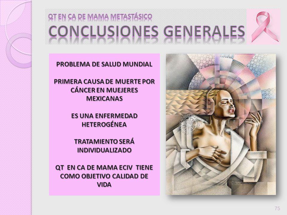 75 PROBLEMA DE SALUD MUNDIAL PRIMERA CAUSA DE MUERTE POR CÁNCER EN MUEJERES MEXICANAS ES UNA ENFERMEDAD HETEROGÉNEA TRATAMIENTO SERÁ INDIVIDUALIZADO Q