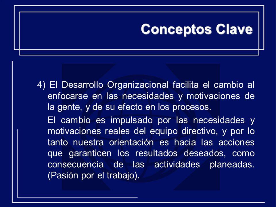 4) El Desarrollo Organizacional facilita el cambio al enfocarse en las necesidades y motivaciones de la gente, y de su efecto en los procesos.