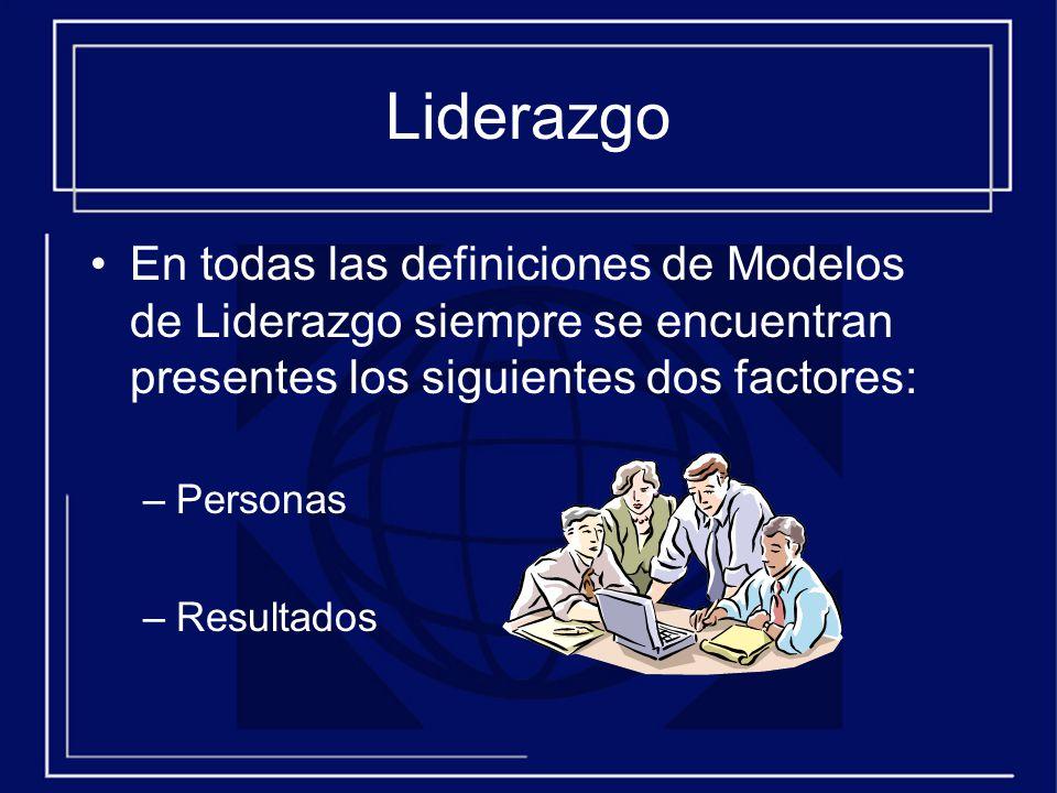Liderazgo En todas las definiciones de Modelos de Liderazgo siempre se encuentran presentes los siguientes dos factores: –Personas –Resultados