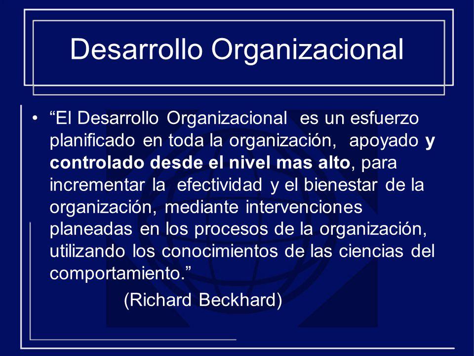 Desarrollo Organizacional El Desarrollo Organizacional es un esfuerzo planificado en toda la organización, apoyado y controlado desde el nivel mas alto, para incrementar la efectividad y el bienestar de la organización, mediante intervenciones planeadas en los procesos de la organización, utilizando los conocimientos de las ciencias del comportamiento.