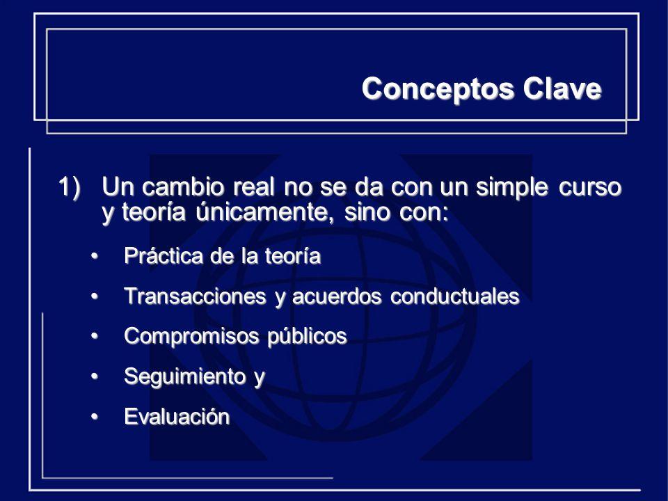Conceptos Clave 2) Para que haya cambio en toda la organización deben hacerse 3 tipos de esfuerzos: Organizacional De equipos (especialmente del equipo directivo) Individual