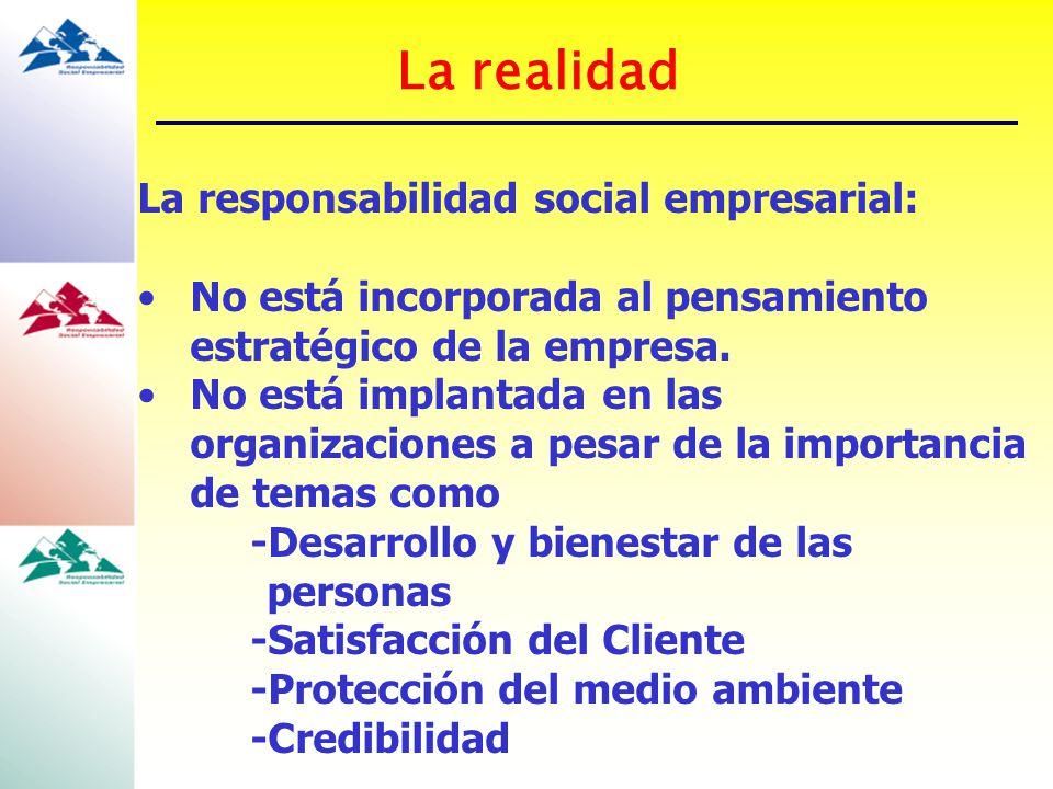 La realidad La responsabilidad social empresarial: No está incorporada al pensamiento estratégico de la empresa. No está implantada en las organizacio