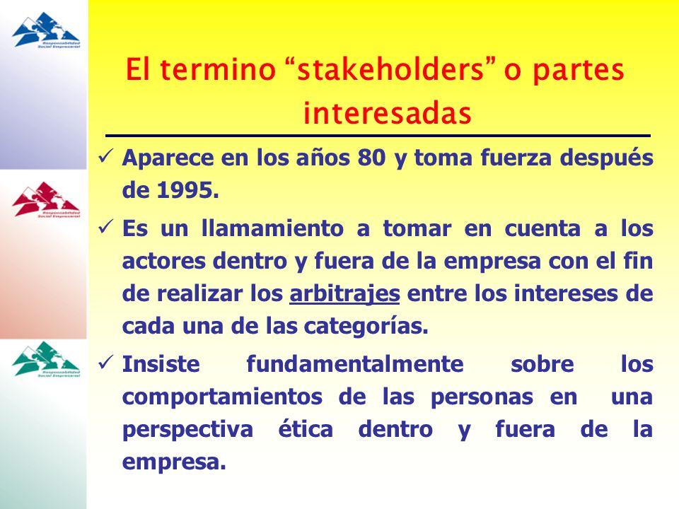 El termino stakeholders o partes interesadas Aparece en los años 80 y toma fuerza después de 1995. Es un llamamiento a tomar en cuenta a los actores d