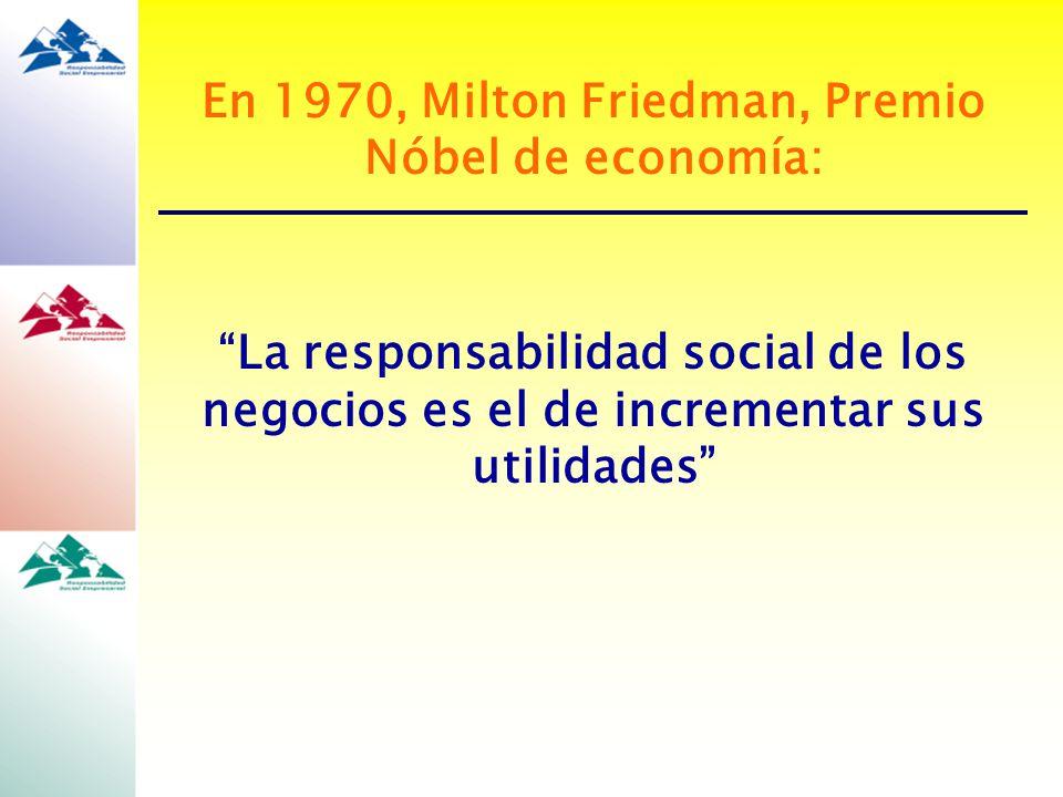 En 1970, Milton Friedman, Premio Nóbel de economía: La responsabilidad social de los negocios es el de incrementar sus utilidades