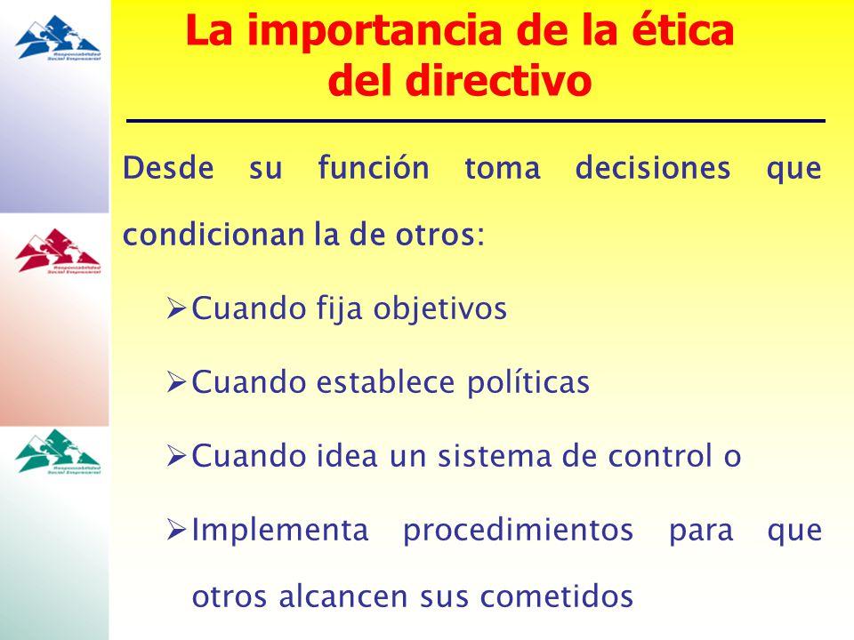 La importancia de la ética del directivo Desde su función toma decisiones que condicionan la de otros: Cuando fija objetivos Cuando establece política