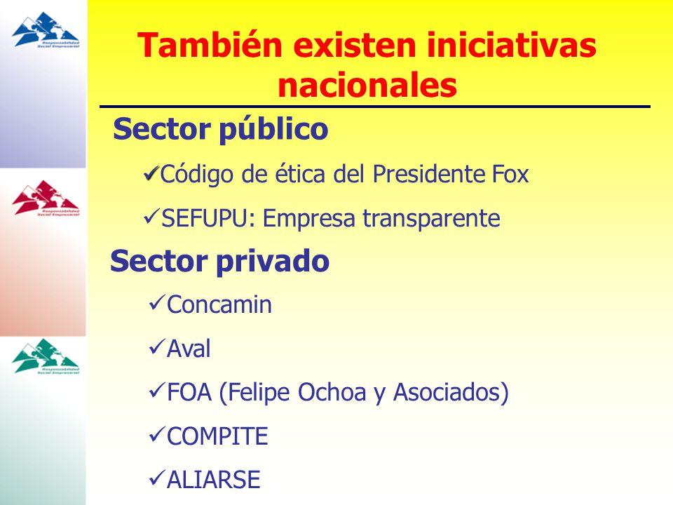 Sector público Código de ética del Presidente Fox SEFUPU: Empresa transparente Sector privado También existen iniciativas nacionales Concamin Aval FOA