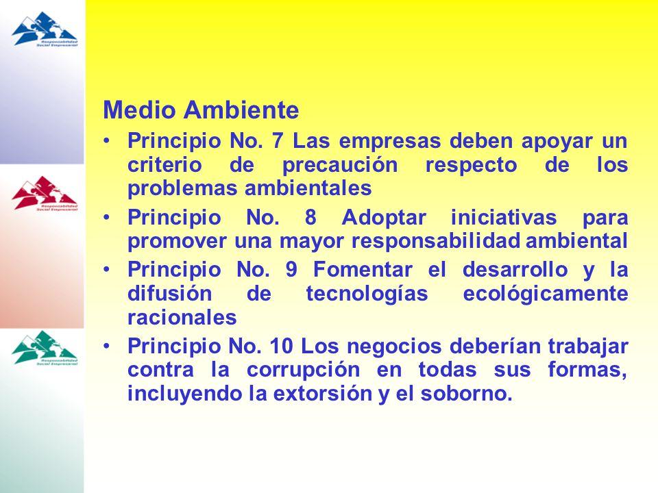 Medio Ambiente Principio No. 7 Las empresas deben apoyar un criterio de precaución respecto de los problemas ambientales Principio No. 8 Adoptar inici