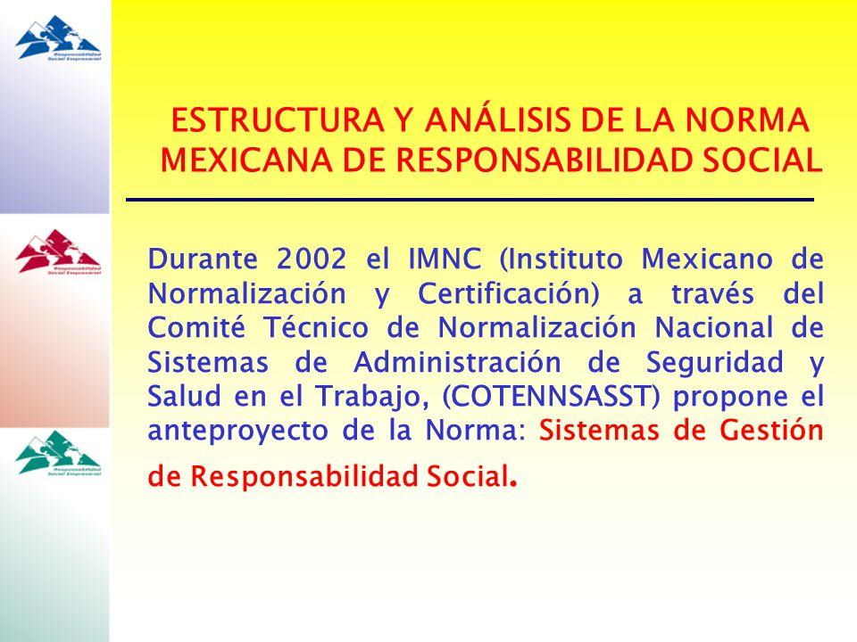 Durante 2002 el IMNC (Instituto Mexicano de Normalización y Certificación) a través del Comité Técnico de Normalización Nacional de Sistemas de Admini