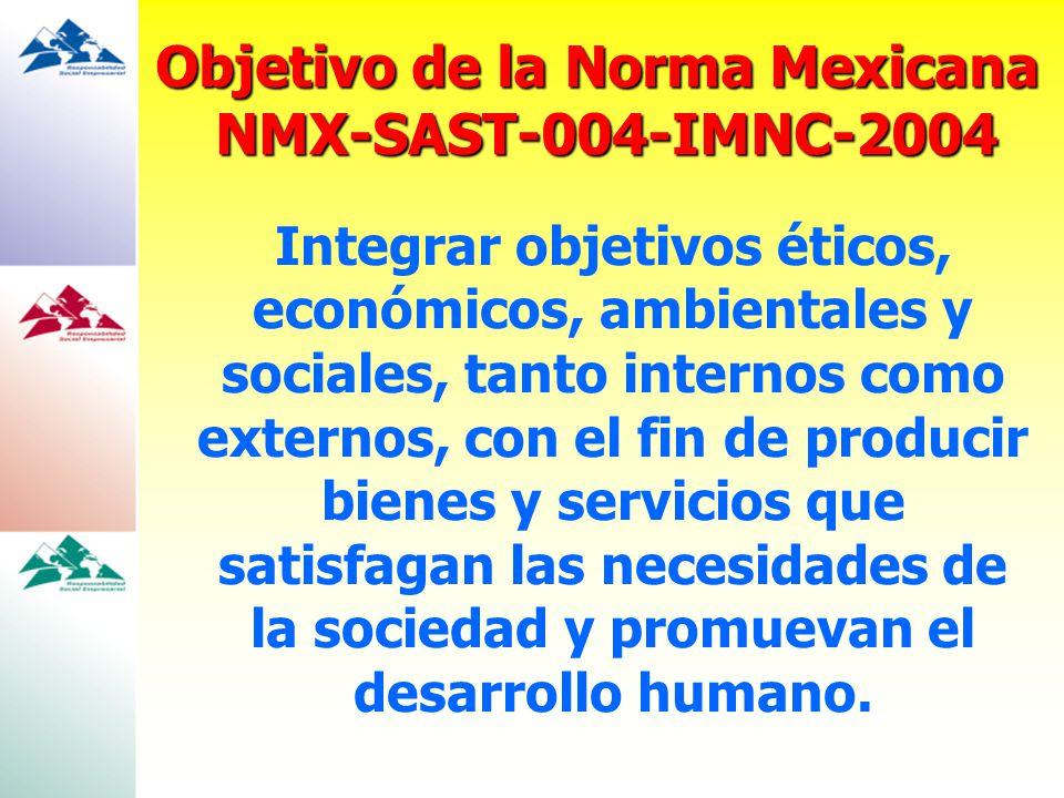 Objetivo de la Norma Mexicana NMX-SAST-004-IMNC-2004 Integrar objetivos éticos, económicos, ambientales y sociales, tanto internos como externos, con