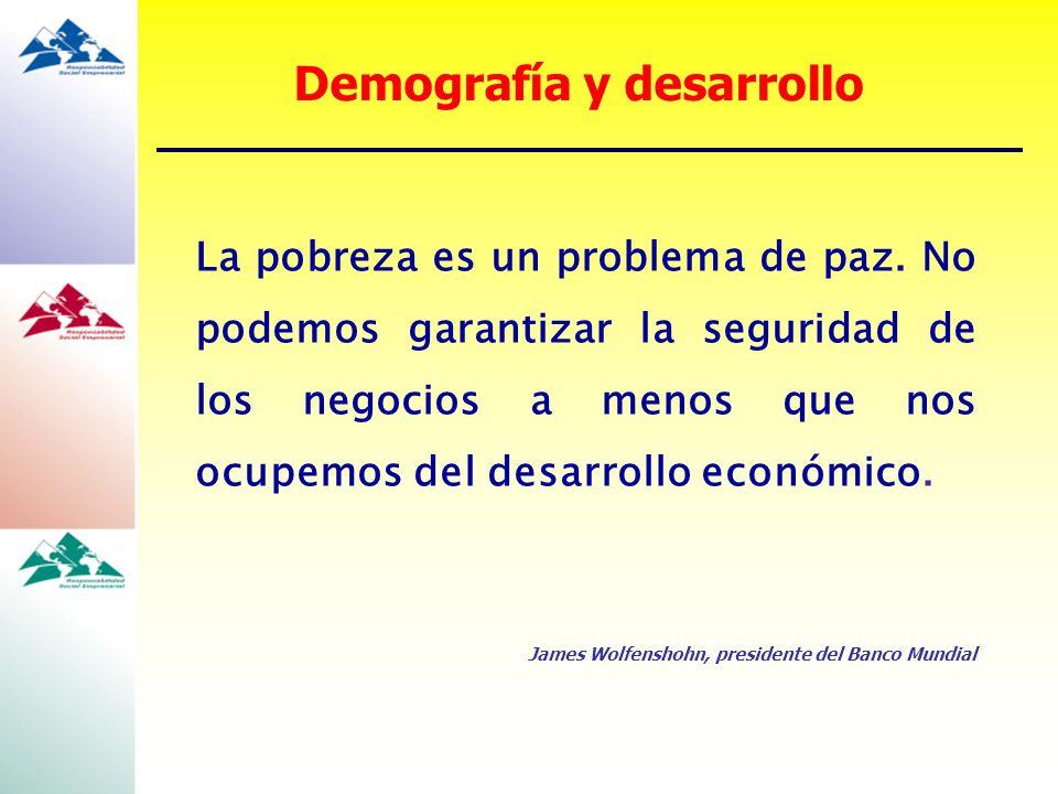La pobreza es un problema de paz. No podemos garantizar la seguridad de los negocios a menos que nos ocupemos del desarrollo económico. James Wolfensh