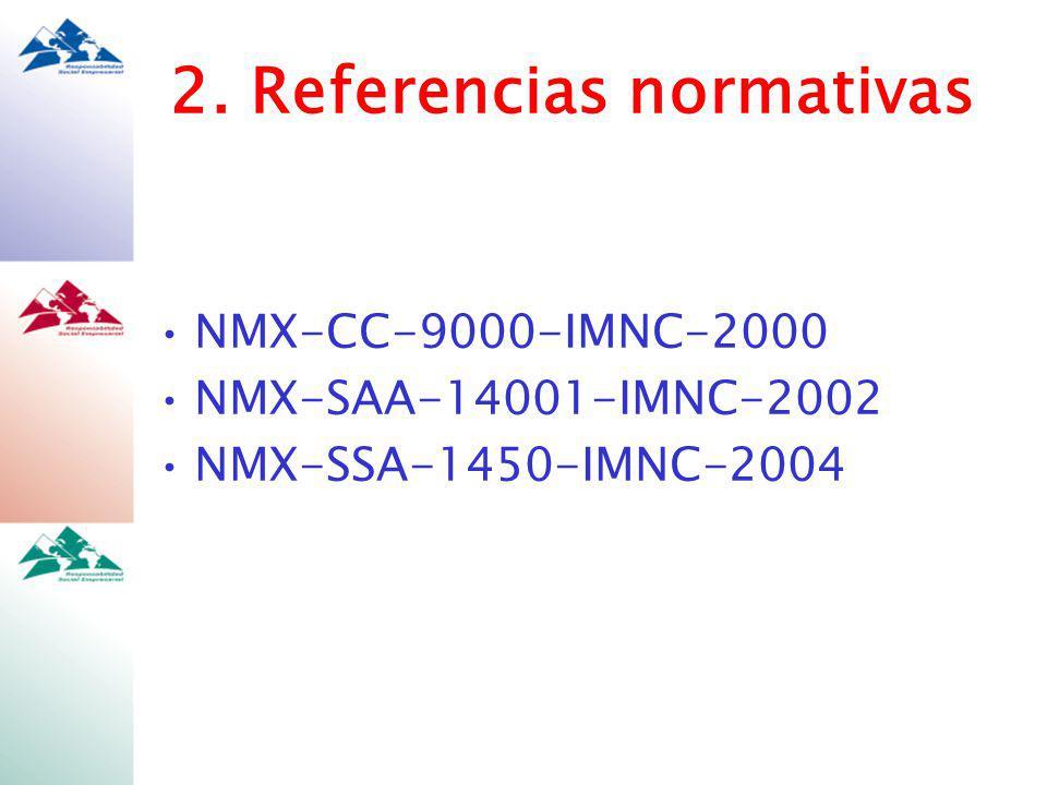 2. Referencias normativas NMX-CC-9000-IMNC-2000 NMX-SAA-14001-IMNC-2002 NMX-SSA-1450-IMNC-2004