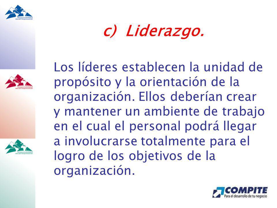 Los líderes establecen la unidad de propósito y la orientación de la organización.