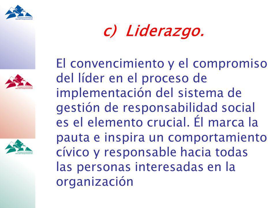 El convencimiento y el compromiso del líder en el proceso de implementación del sistema de gestión de responsabilidad social es el elemento crucial.