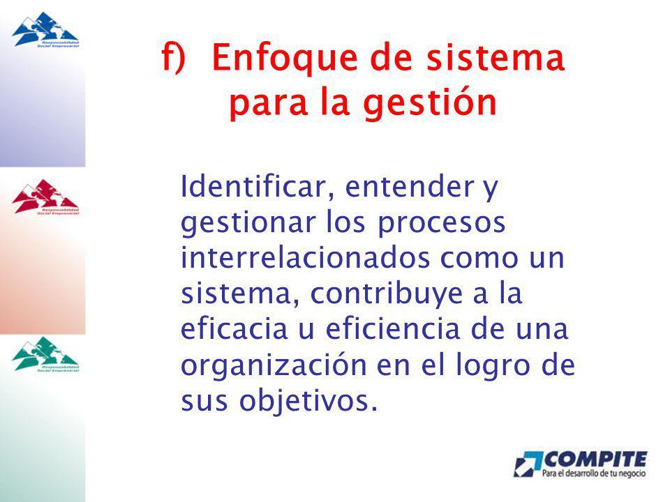 Identificar, entender y gestionar los procesos interrelacionados como un sistema, contribuye a la eficacia u eficiencia de una organización en el logro de sus objetivos.