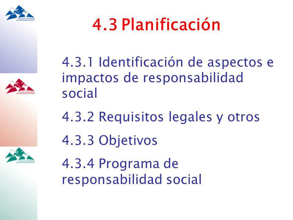 4.3Planificación 4.3.1 Identificación de aspectos e impactos de responsabilidad social 4.3.2 Requisitos legales y otros 4.3.3 Objetivos 4.3.4 Programa de responsabilidad social