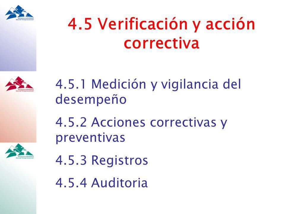 4.5 Verificación y acción correctiva 4.5.1 Medición y vigilancia del desempeño 4.5.2 Acciones correctivas y preventivas 4.5.3 Registros 4.5.4 Auditoria
