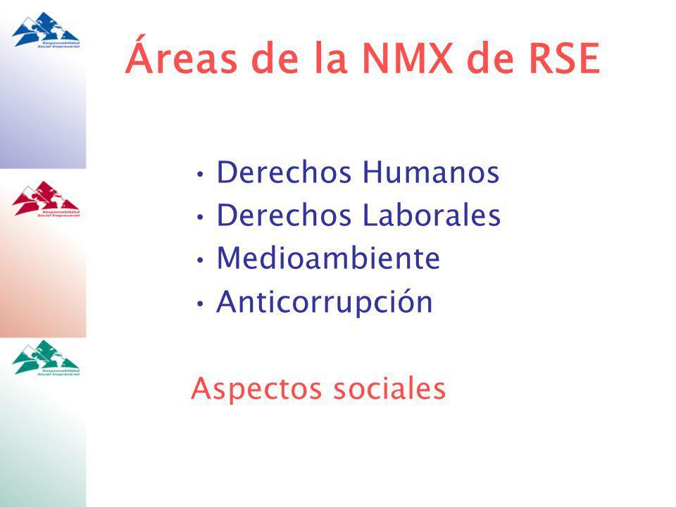 Áreas de la NMX de RSE Derechos Humanos Derechos Laborales Medioambiente Anticorrupción Aspectos sociales
