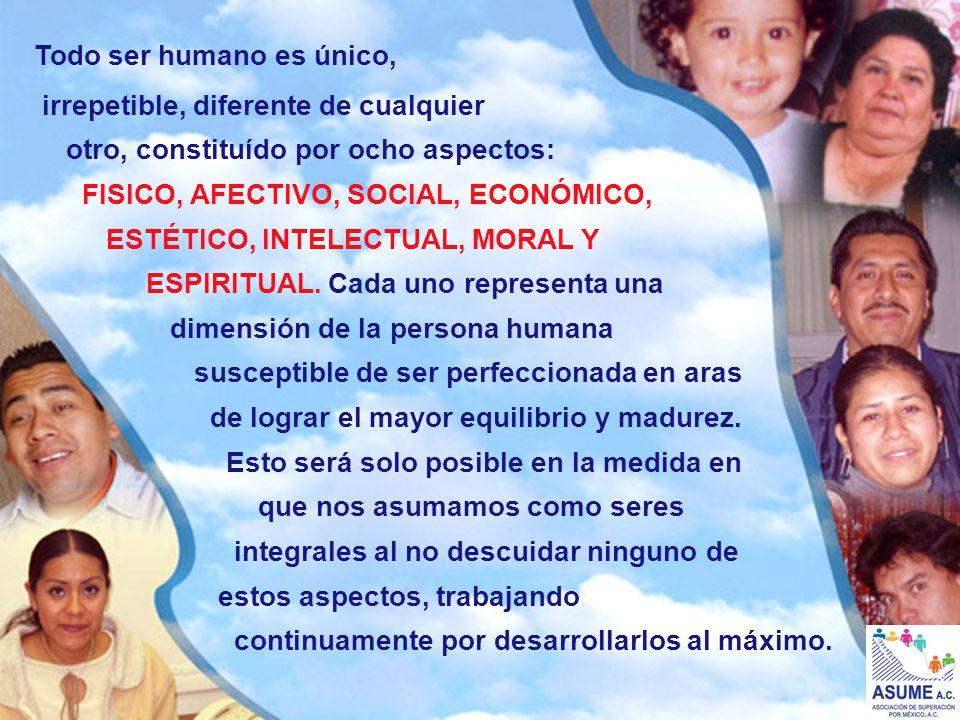 Todo ser humano es único, irrepetible, diferente de cualquier otro, constituído por ocho aspectos: FISICO, AFECTIVO, SOCIAL, ECONÓMICO, ESPIRITUAL. Ca