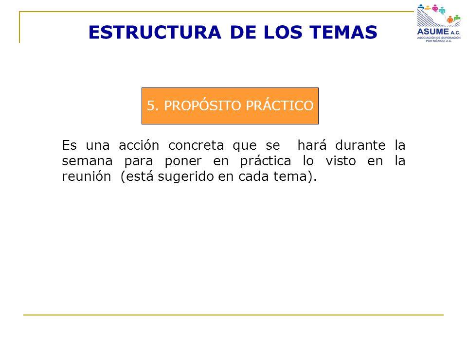 ESTRUCTURA DE LOS TEMAS 5. PROPÓSITO PRÁCTICO Es una acción concreta que se hará durante la semana para poner en práctica lo visto en la reunión (está