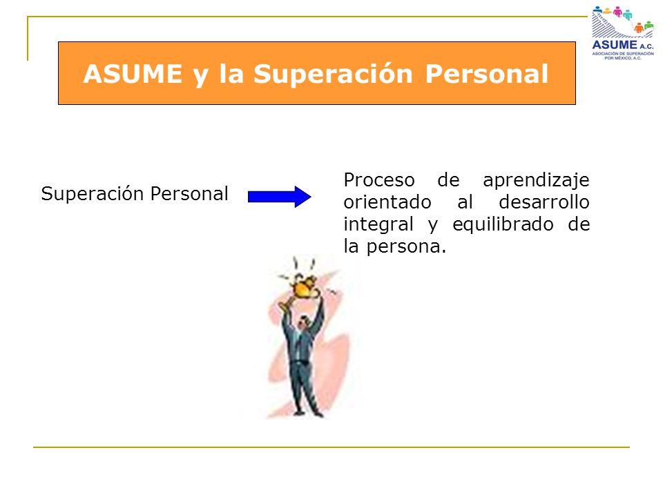 ASUME y la Superación Personal Superación Personal ASUME y la Superación Personal Proceso de aprendizaje orientado al desarrollo integral y equilibrad