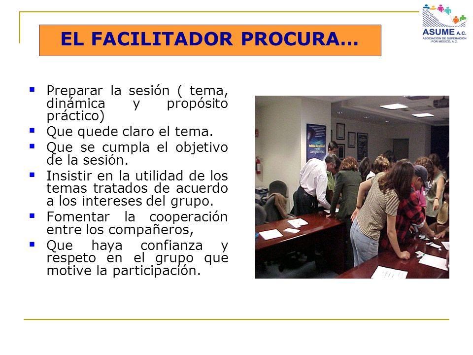 EL FACILITADOR PROCURA… Preparar la sesión ( tema, dinámica y propósito práctico) Que quede claro el tema. Que se cumpla el objetivo de la sesión. Ins
