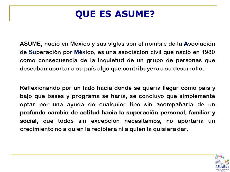 QUE ES ASUME? ASUME, nació en México y sus siglas son el nombre de la Asociación de Superación por México, es una asociación civil que nació en 1980 c