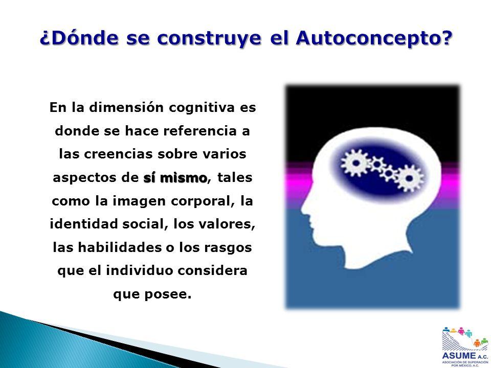 ¿Dónde se construye el Autoconcepto? sí mismo En la dimensión cognitiva es donde se hace referencia a las creencias sobre varios aspectos de sí mismo,