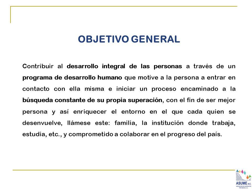 OBJETIVO GENERAL Contribuir al desarrollo integral de las personas a través de un programa de desarrollo humano que motive a la persona a entrar en co
