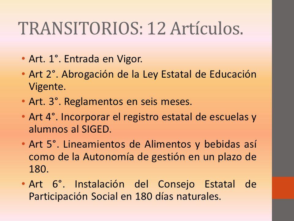 TRANSITORIOS: 12 Artículos. Art. 1°. Entrada en Vigor. Art 2°. Abrogación de la Ley Estatal de Educación Vigente. Art. 3°. Reglamentos en seis meses.