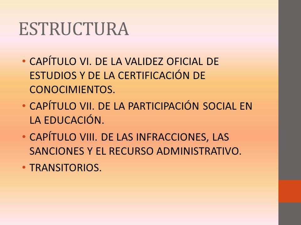 ESTRUCTURA CAPÍTULO VI. DE LA VALIDEZ OFICIAL DE ESTUDIOS Y DE LA CERTIFICACIÓN DE CONOCIMIENTOS. CAPÍTULO VII. DE LA PARTICIPACIÓN SOCIAL EN LA EDUCA