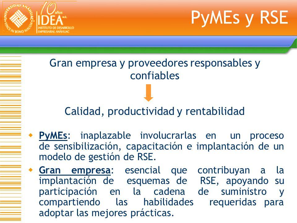 PyMEs: inaplazable involucrarlas en un proceso de sensibilización, capacitación e implantación de un modelo de gestión de RSE. Gran empresa: esencial