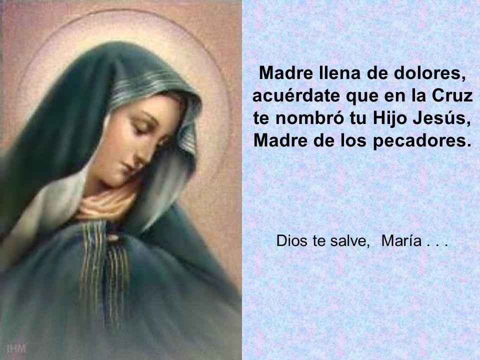 Madre llena de dolores, acuérdate que en la Cruz te nombró tu Hijo Jesús, Madre de los pecadores. Dios te salve, María...