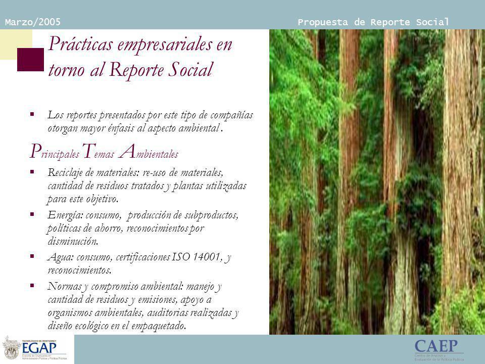 Marzo/2005 Propuesta de Reporte Social Empresarial Prácticas empresariales en torno al Reporte Social Los reportes presentados por este tipo de compañías otorgan mayor énfasis al aspecto ambiental.
