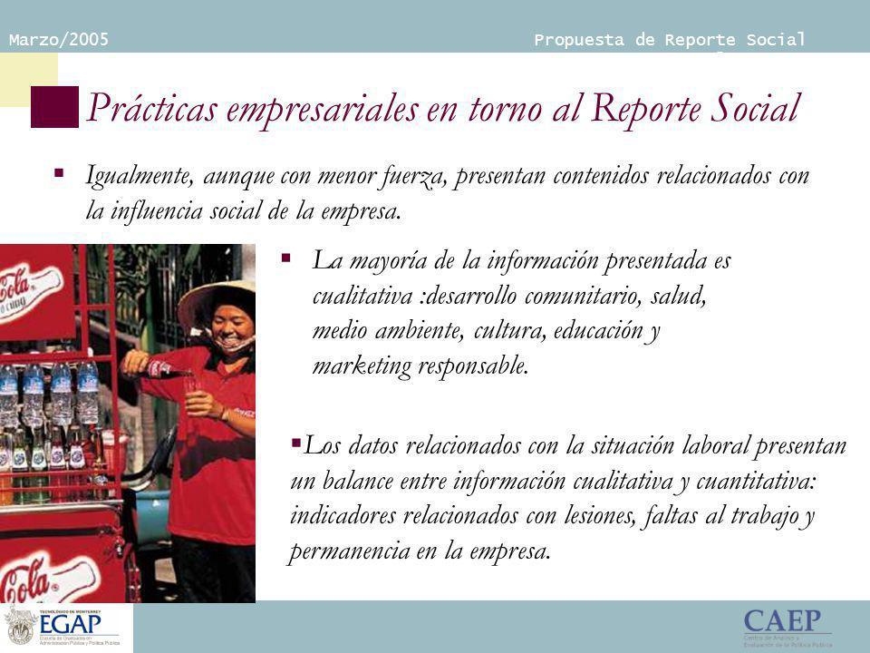 Marzo/2005 Propuesta de Reporte Social Empresarial Prácticas empresariales en torno al Reporte Social Igualmente, aunque con menor fuerza, presentan contenidos relacionados con la influencia social de la empresa.