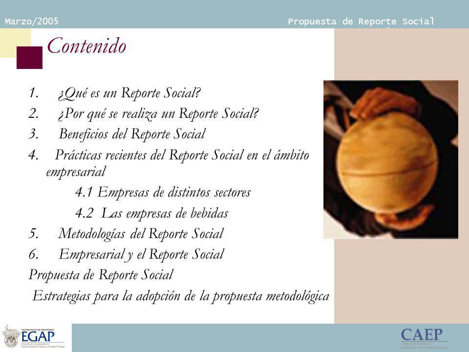Marzo/2005 Propuesta de Reporte Social Empresarial Contenido 1.