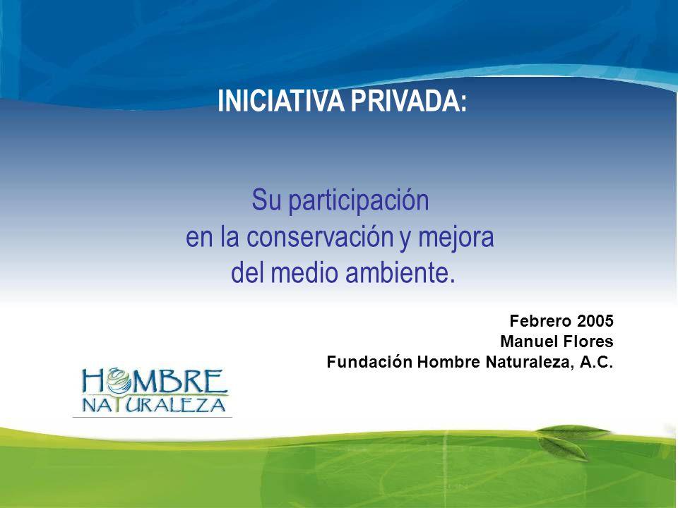 INICIATIVA PRIVADA: Su participación en la conservación y mejora del medio ambiente.