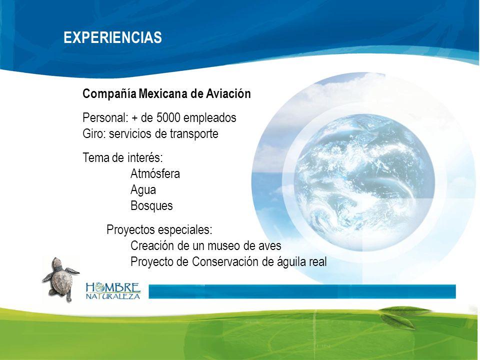 Compañía Mexicana de Aviación Personal: + de 5000 empleados Giro: servicios de transporte Tema de interés: Atmósfera Agua Bosques Proyectos especiales: Creación de un museo de aves Proyecto de Conservación de águila real EXPERIENCIAS