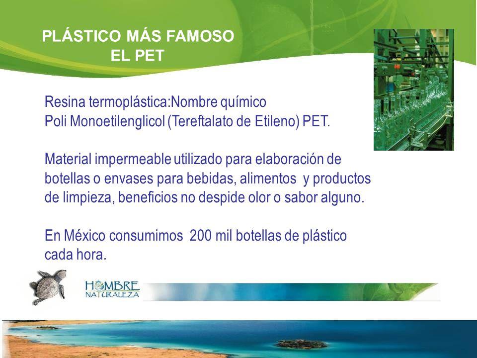Resina termoplástica:Nombre químico Poli Monoetilenglicol (Tereftalato de Etileno) PET.